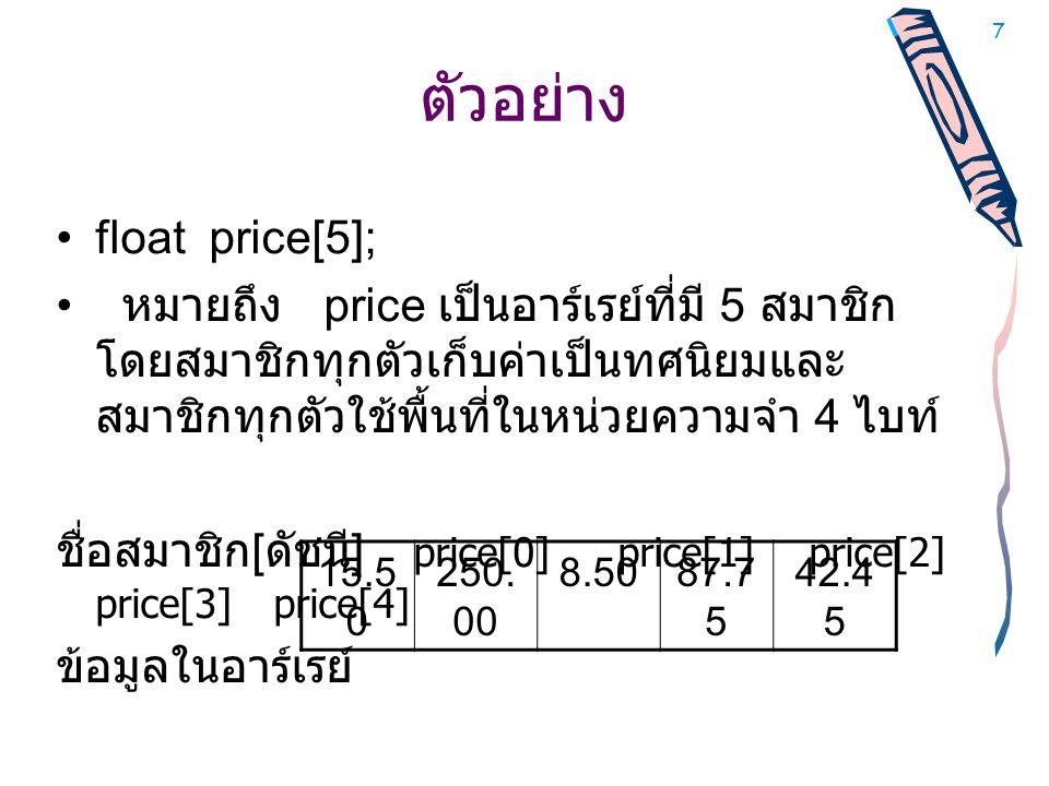 ตัวอย่าง float price[5];